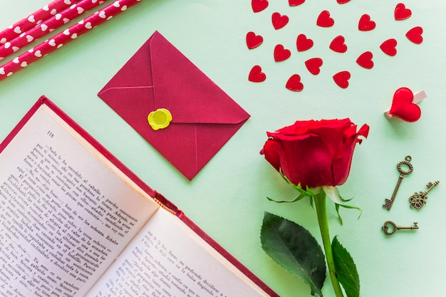 Rose branch with envelope and small hearts