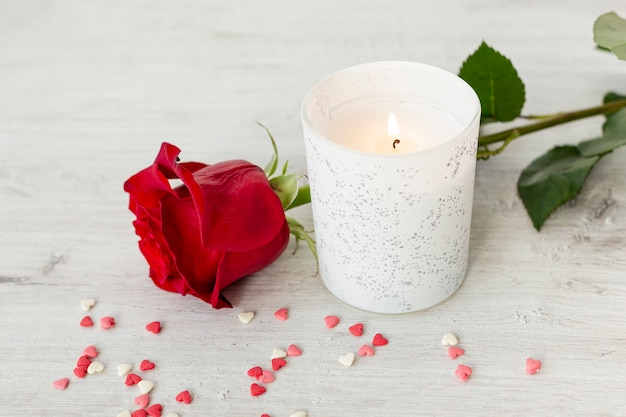 Rose and candle for valentines day