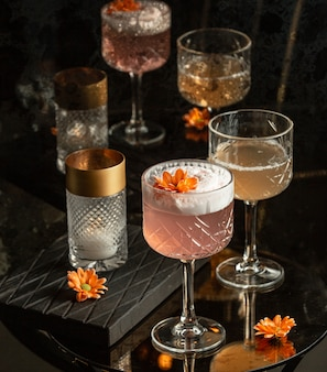 Rose cocktail on the table