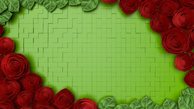Rose flower background template, valentines day, 3d rendering.