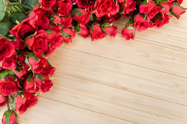 Rose flowers arranged with copyspace