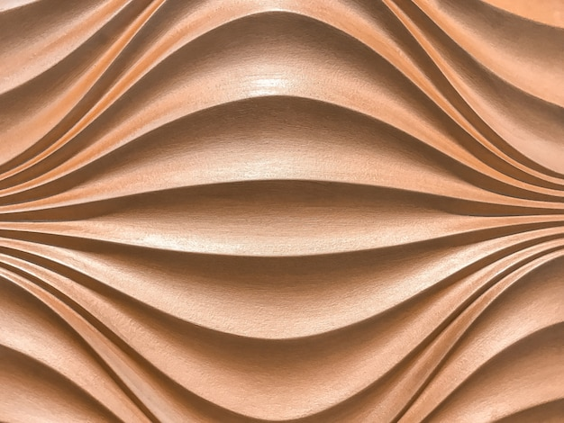 Rose gold 3d interior decorative wall panel with wavy pattern.