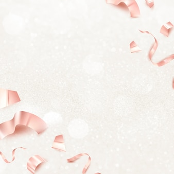 Rose gold birthday 3d ribbons for greeting card on glitter background