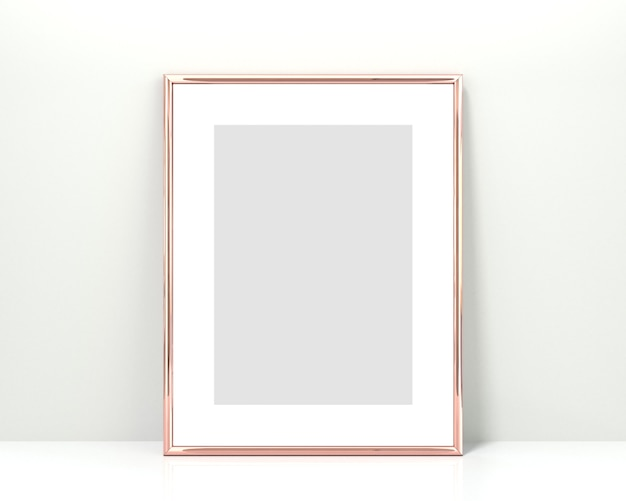 Rose gold frame on a white background