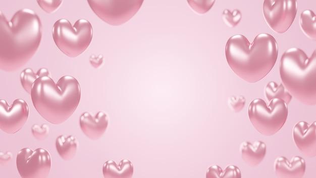 コピースペース3dレンダリングとピンクの背景にローズゴールドのハート