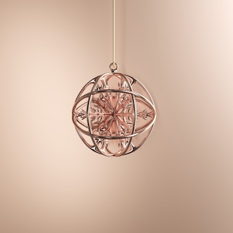 Rose gold ornaments christmas ball on golden background. minimal christmas concept idea.