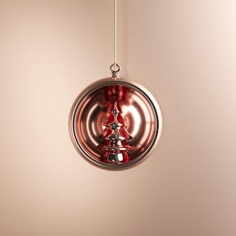 황금 배경에 로즈 골드 장식품 크리스마스 공. 최소한의 크리스마스 컨셉 아이디어.