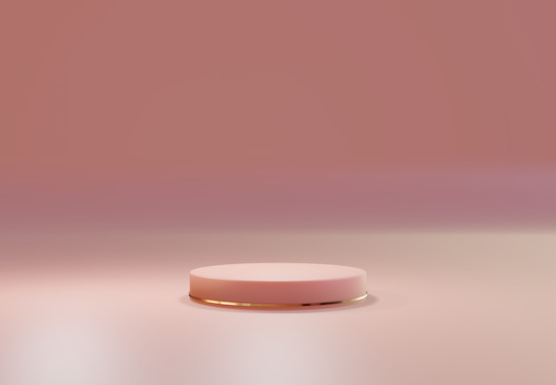 핑크 파스텔 내추럴 위에 로즈 골드 받침대