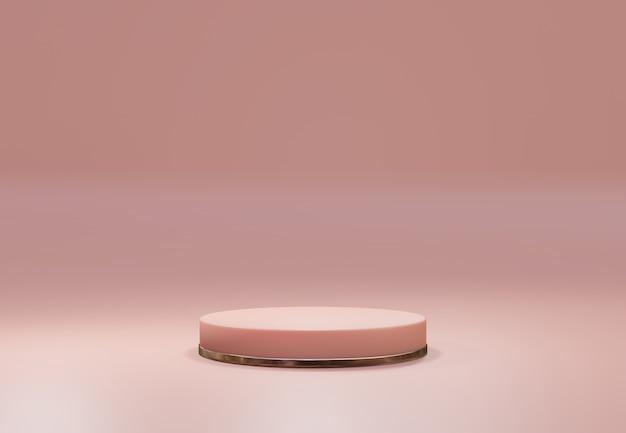 Rose gold pedestal over pink pastel natural background