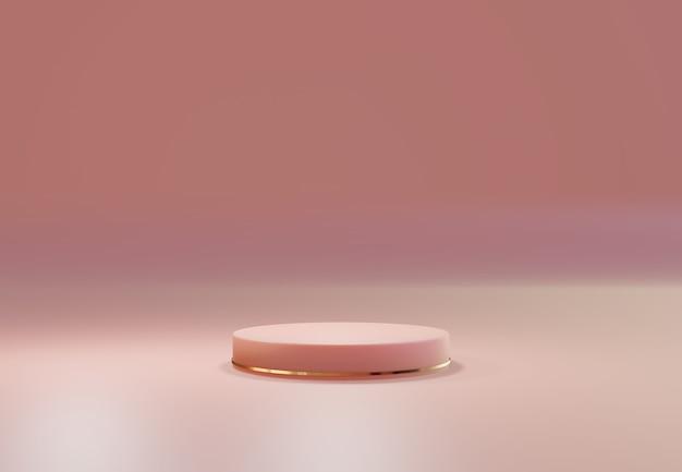 Rose gold pedestal over pink pastel natural