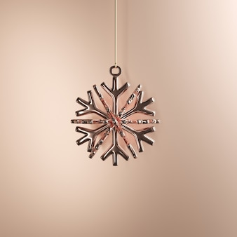 Rose gold snowflake ornaments christmas ball on golden background. minimal christmas concept idea.