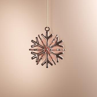 황금 배경에 로즈 골드 눈송이 장식품 크리스마스 공. 최소한의 크리스마스 컨셉 아이디어.