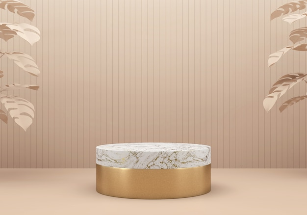 Rose gold and white marble stage platform podium, for advertising product display background