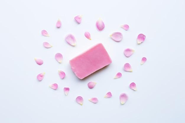 Rose handmade soap on white
