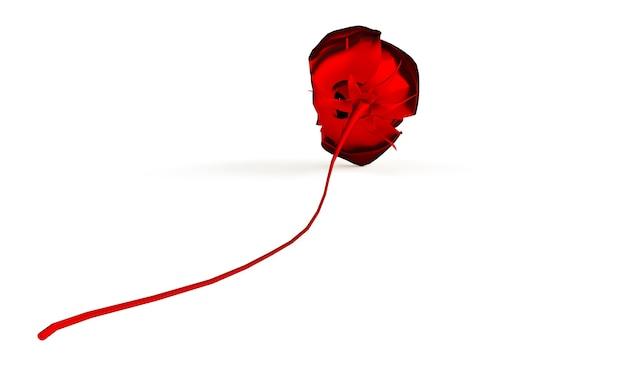 Роза на белом фоне. 3d визуализация