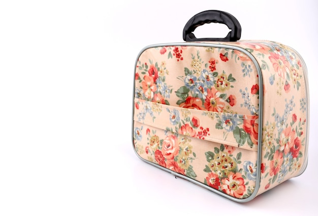 Rose pattern bag with white background.