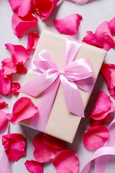 Rose petals and gift box