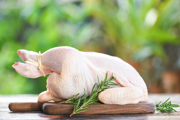 Rosemary chicken meat - fresh raw chicken whole on wooden cutting board on nature green background