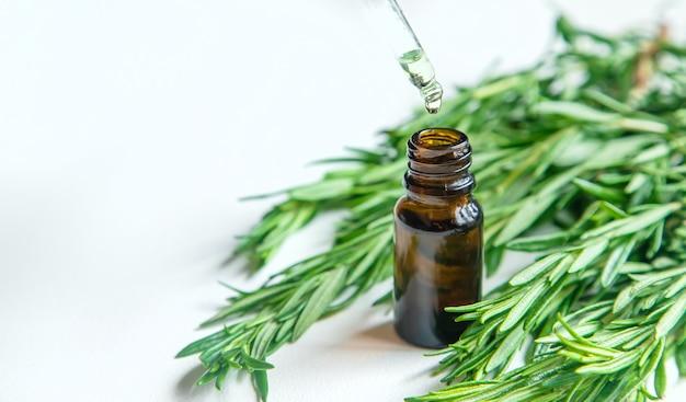 Эфирное масло розмарина в бутылочке. выборочный фокус. природа.