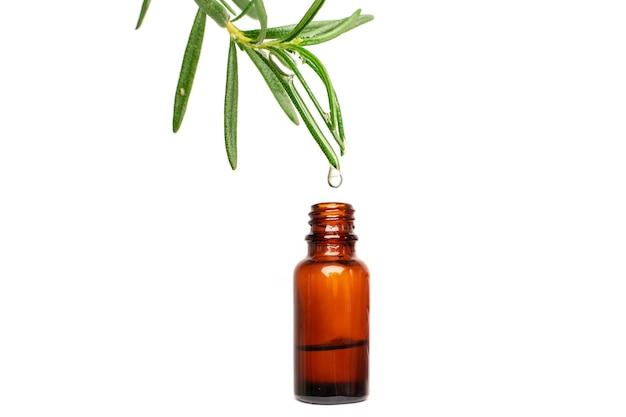 Капля масла альтернативной медицины розмарина, падающая с листа на бутылку
