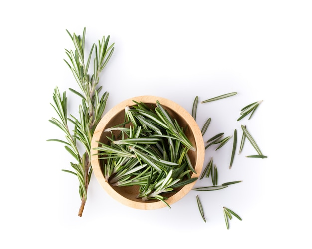 Rosemary isolated on white, top view.