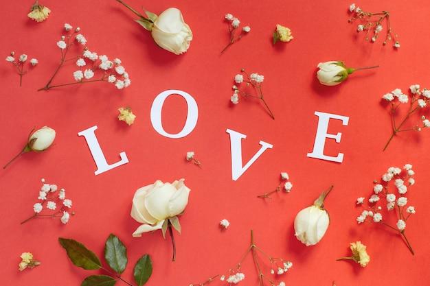 장미와 빨간색 배경에 단어 사랑을 닫습니다.