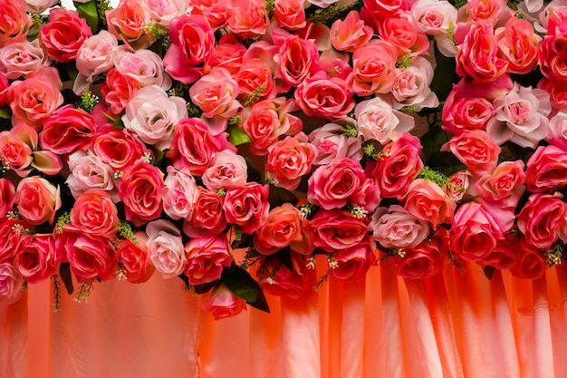 Roses backdrop decorated for wedding.