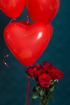 Roses and balloons for valentine day