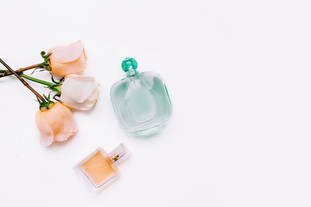 Roses and bottles of perfume