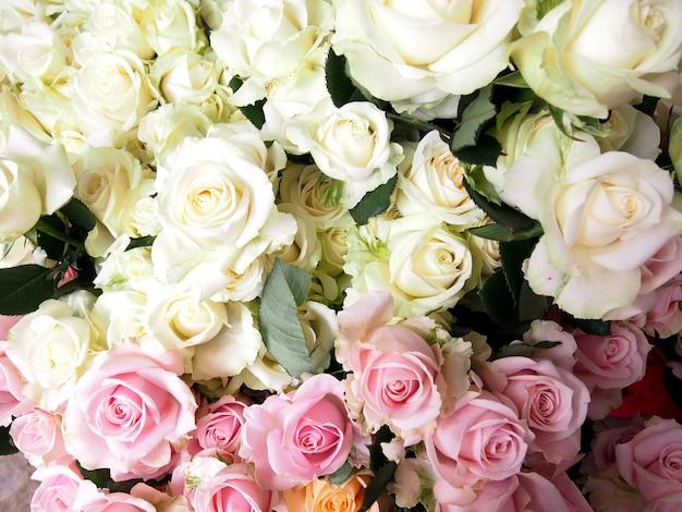 Roses bouquet on farm rose area