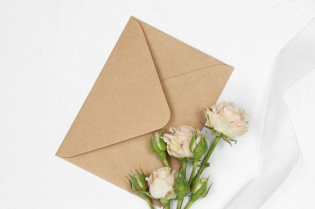 Roses and craft envelope with ribbon