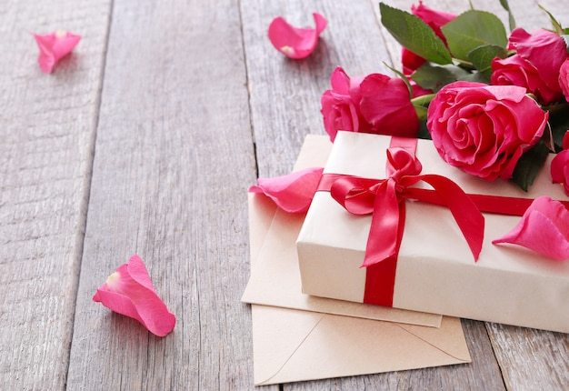 Roses and gift box for saint valentine day