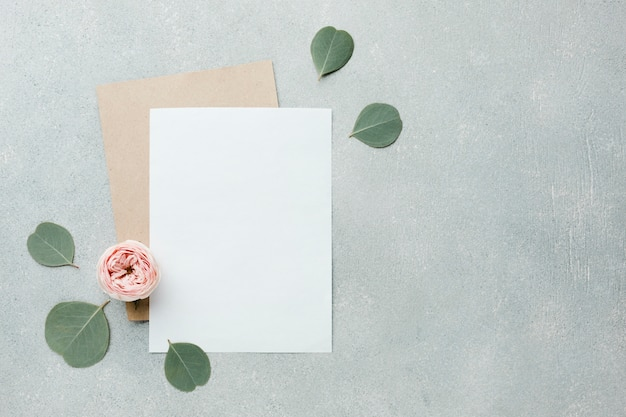 Roses and leaves flat lay with blank papers