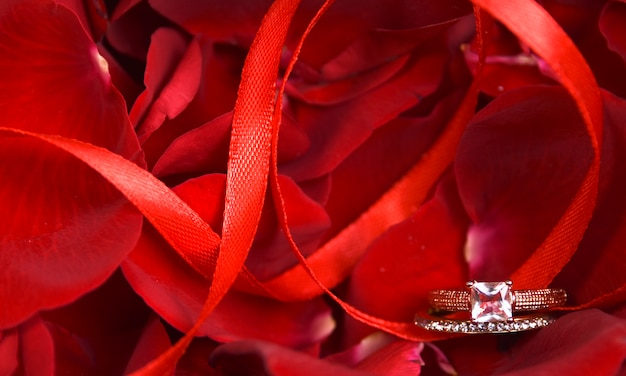 Roses petals with ring