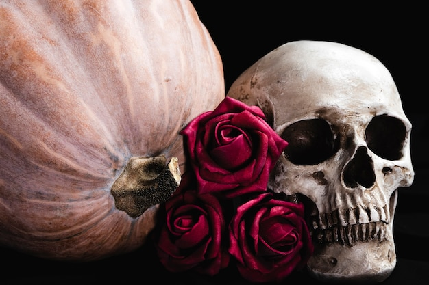 Roses with human skull and pumpkin