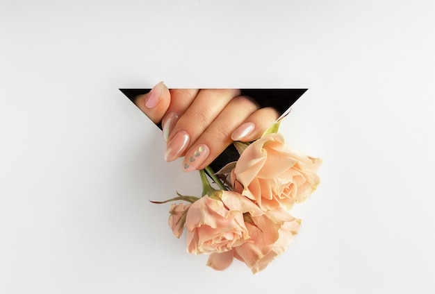 Roses in women's hands stick out from a triangle on white paper background.