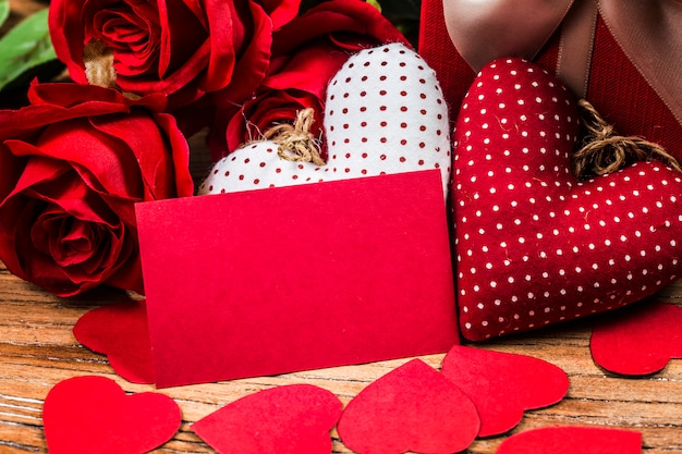 Roses on wooden board, valentines day background Free Photo