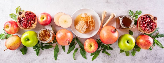 Rosh hashanah  jewish new year holiday concept of traditional or religion symbols