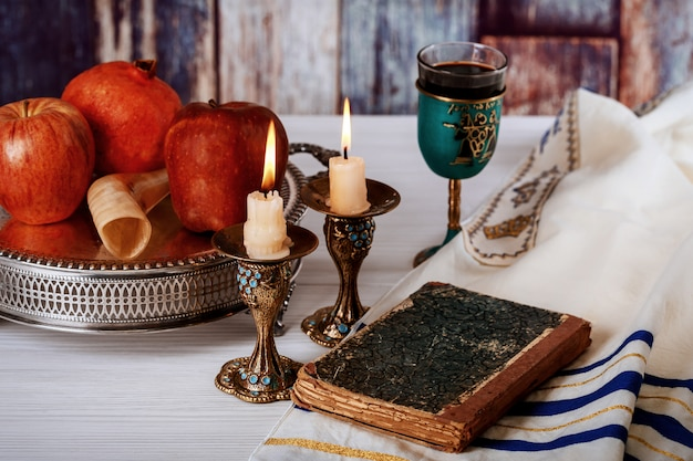 Rosh hashanah jewish new year holiday concept.