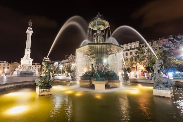 Rossio square (pedro iv square) in the city of lisbon, portugal