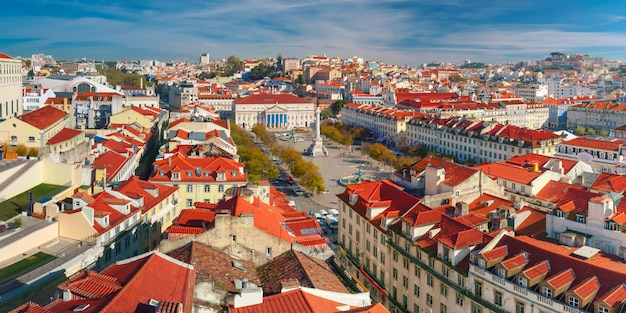 Rossio square with wavy pattern, lisbon, portugal