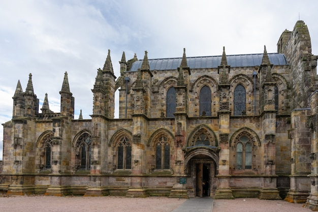 Rosslyn chapel on a cloudy day.