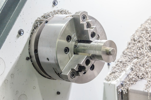 Rotating brilliant part of an automated lathe for machining of metal parts
