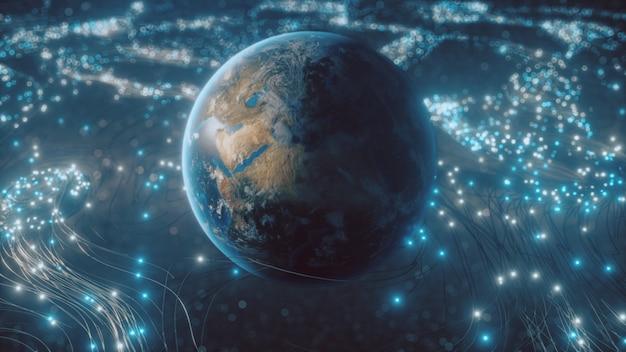 A rotating globe in optical fiber clouds transmitting signals