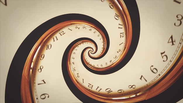 Rotating spiral of clock from numbers