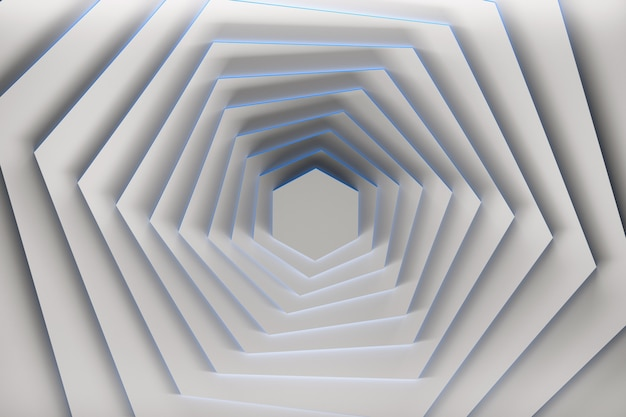 Rotation of pure white hexagons with blue edges.