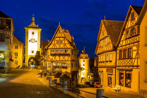 Rothenburg ob der tauber germany at dusk.