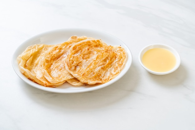 Roti with sweetened condensed milk (dessert) - muslim food style