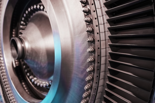 A rotor disc with blades of a turbojet gas turbine engine, inside view. elements, details and mechanisms of turbines. energy and mechanical engineering
