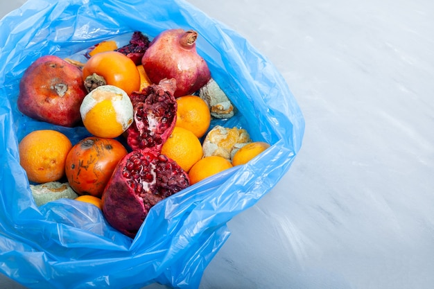 Rotten fruits pomegranate persimmon tangerine in blue garbage bag closeup organic food waste